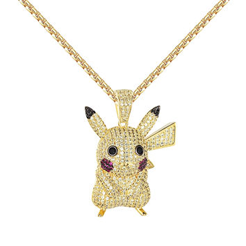 Pokemon Pendant Necklace Yellow Simulated Diamonds 14k Gold Finish New