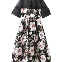 Floral Print Short Sleeve Jigh Waist A-Line Pleated Mini Dress