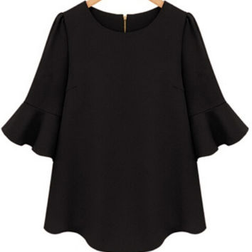 Half Sleeve Flouncing Chiffon Black Blouse | MakeMeChic.COM