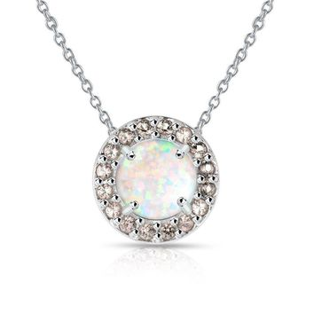 Round Halo Simulated White Opal & Morganite Necklace in Sterling Silver