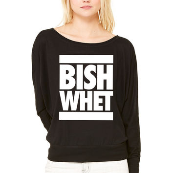 Bish Whet WOMEN'S FLOWY LONG SLEEVE OFF SHOULDER TEE