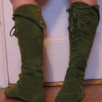 Fairy Princess ELF BOOTS pointy toe knee high moss by earthgarden