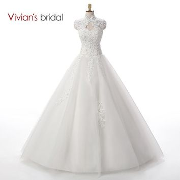 Bridal Beaded Sequin A Line Lace Wedding Dress  Weeding Tulle Cap Sleeve Long Wedding Gown