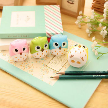 1 x kawaii owl plastic pencil sharpener pencil cutter knife korean stationery school supplies papelaria