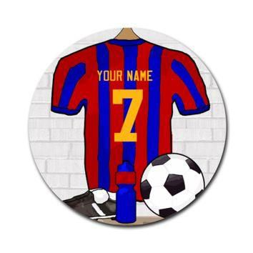 Red and Blue Football Soccer Jersey 8'' Round Mousepad - Custom Mouse Pads
