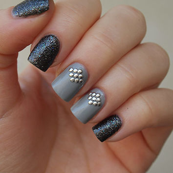 Nail art studs decoration silver color small round approx. 750-850pcs