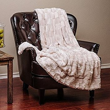 "Chanasya Super Soft Fuzzy Fur Elegant Faux Fur Rectangular Embossed Pattern With Fluffy Plush Sherpa Cozy Warm Crme Throw Blanket (50"" x 65"") - Ivory Crme"