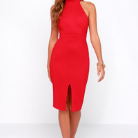 Outstanding Features Red Midi Dress