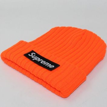 Supreme Autumn And Winter Patch Letters Knitted Hat Orange