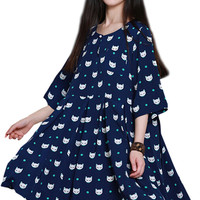 Navy Blue Fox Printed Half Sleeve Mini Dress