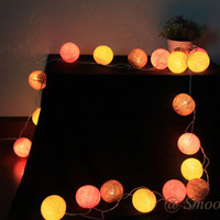 Cotton Ball String Lights, Lamp, Home Decoration, Christmas light, Thailand, Handmade -- cream pink brown 20 or 35 Balls