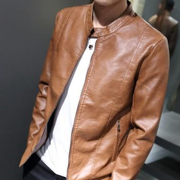 Mens Stand Collar Faux Leather Jacket