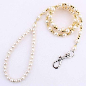 Luxury Beaded Pearl Dog Leash Pet Cat Chain Leads Leashes for Small Medium Dog Collar Accessories