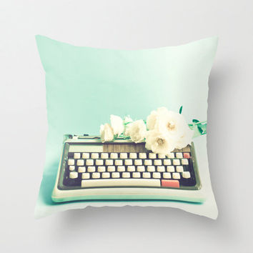 Turquoise Pillow, Mint Pillow, Pillow Cover, Typewriter, Pillow, Spring Decor, Flower Pillow 16 x 16 or 18 x 18
