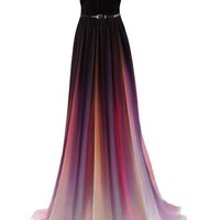 Promonline Prom dress Women's Gradient Chiffon Formal Long Party Gown