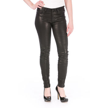 J Brand Womens Leather Flat Front Skinny Pants
