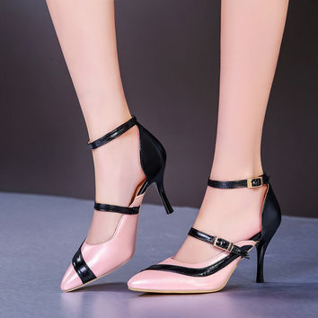 Pointed Toe Double Buckle Straps High Heels Women Pumps Spike Shoes 9154