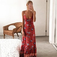 Casual Boho Floral Print Long Dress Women Stylish Strap V Neck Holiday Dress