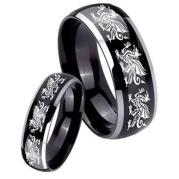 His Hers Gossy Black Dome Multiple Dragon 2 Tone Tungsten Wedding Rings Set
