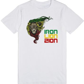 Reggae, Rasta, Rastafari Lion - Iron, Lion, Zion 2 | T-Shirt | SKREENED