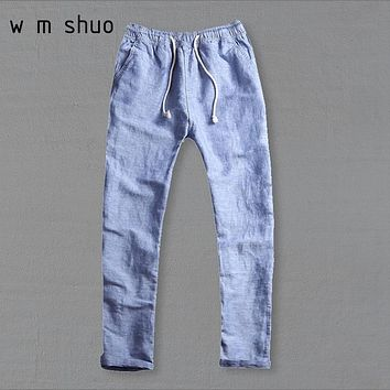 WMSHUO 2017 Men's Summer Casual Pants Natural Cotton Linen Trousers White Linen Elastic Waist Straight Pants Y026