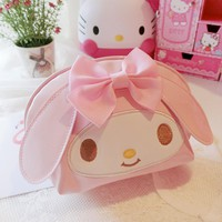 Cute Hello Kitty My Melody Pu Makeup Bag Cosmetic Bag Waterproof Portable Travel Bag Storage Bag Pouch Girl Makeup box Girl gift