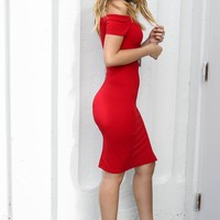 Talk That Talk Red Off The Shoulder Midi Dress