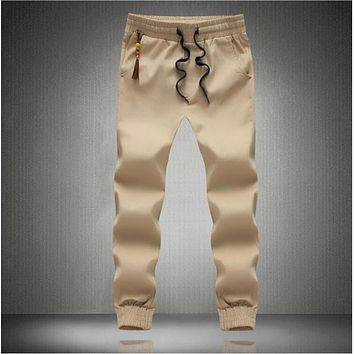 New Fashion Drawstring Men Pants High Quality Cotton Mens Joggers Casual Sweatpants Men's Trousers Size:S~3XL
