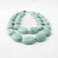 SKY. turquoise magnesite necklace with gunmetal extender chain. aqua mint. statement necklace.