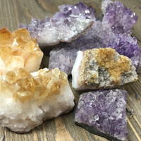 Garden Crystal Small Amethyst or Citrine Raw Stone Healing Crystals and Stones Raw Amethyst Cluster Cleansing Stone Meditation Stone Natural