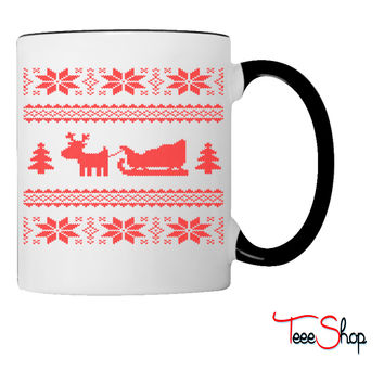 reindeer with sleigh Coffee & Tea Mug