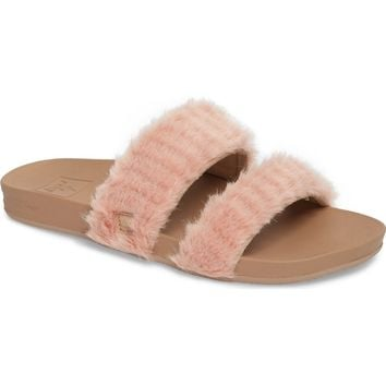 Reef Bounce Faux Fur Double Strap Slide Sandal (Women) | Nordstrom