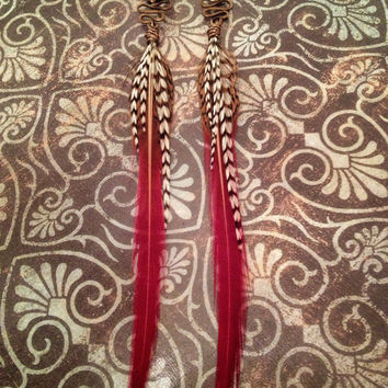 Feather Plugs 2g 0g 00g 1/2 Inch 9/16 - Plug or Tunnel Dangle Gauges with Tribal Feather Wire Wrap in VERMILIONAIRE Red Black White