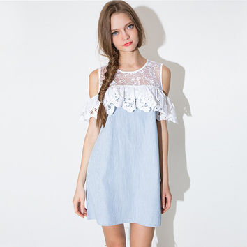 Sleeveless Ruffled Lace A-Line Mini Dress with Floral Mesh Accent