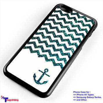 Chevron Anchor Blue Sparkly - Personalized iPhone 7 Case, iPhone 6/6S Plus, 5 5S SE, 7S Plus, Samsung Galaxy S5 S6 S7 S8 Case, and Other