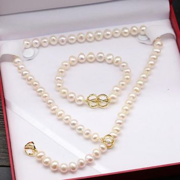 2018 new 8-9mm 100% freshwater pearls necklac bracelets sets designer works simple fashion design noble party wedding jewelry
