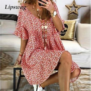 Lipswag Women 4XL V Neck Floral Print Mini Dress Summer Flare Sleeve Party Dress Casual Loose Boho Beach A-line Dresses Vestidos