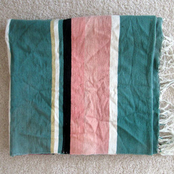 Vintage Woven Pastel Rug / Blanket / Southwestern / Earth Toned Colors / Natural Palette / Home Rug / Picnic Blanket /  Beach Blanket