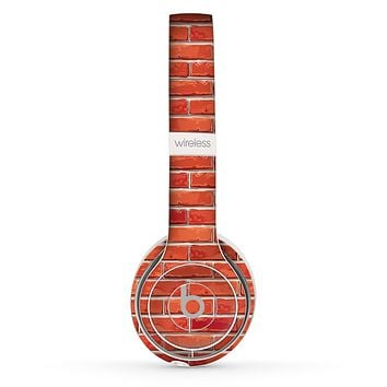 The Bright Red Brick Wall Skin Set for the Beats by Dre Solo 2 Wireless Headphones