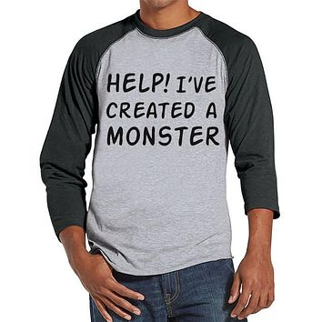 Men's Created a Monster Outfit - Monster Daddy and Me Coordinating Shirts - Adult Grey Raglan T-Shirt - Father's Day - Father Son