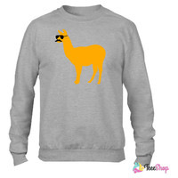 Funny llama with sunglasses and mustache Crewneck sweatshirtt