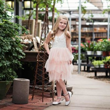 Blanche White & Pink Lace Scalloped Tier Tulle Tutu Dress - Toddler & Girls