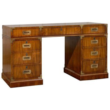 Pre-owned Mid-Century Campaign Style Partner's Desk