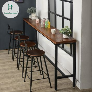Louis Fashion Bar Tables American Solid Wood Wall Table Simple Coffee Shop Modern Simple