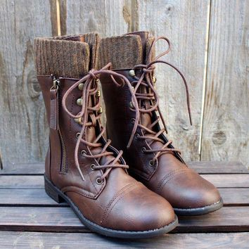 LMFHT3 FINAL SALE - the brown combat sweater boots