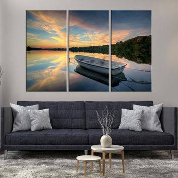 89993 - Large Wall Art Boat on Lake and Forest Beside at Canvas Print