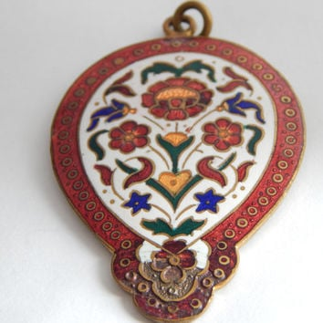 Large Victorian Antique Enamel Pendant - Enamel Jewelry - Enamel Pendant - Antique Enamel Jewelry - Victorian Antique Necklace