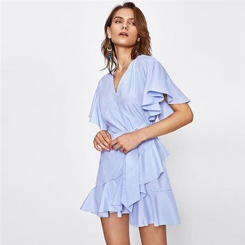 Frill Detail Surplice Wrap Striped