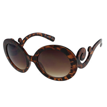 Womens Oversize Round Sunglasses with Swirly Temples