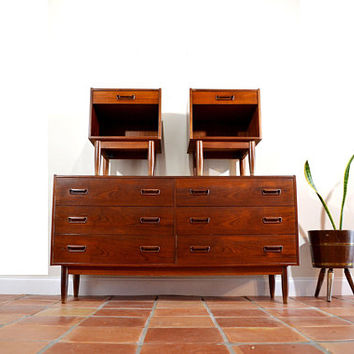 Danish Modern Teak Bedroom Dresser and Nightstands by Skodborg Mobelfabrik